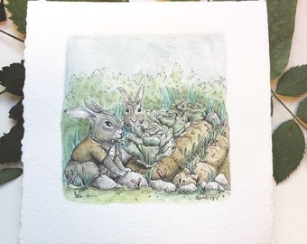 Benjamin bunny. Original watercolor Beatrix Potter stories illustrated by Charlotte Lyng - inktober