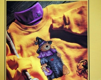 Beary Bewitching By Kathie Rueger Vintage Cross Stitch Waste Canvas Pattern Page 1993