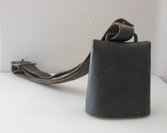Antique Large Cowbell  Antique Rustic Ranch Home Decor Rustic Cowbell with Leather and Metal Hanging Cowbell with Leather Strap and Buckle