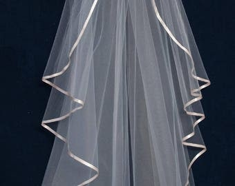 "40"" Long Waterfall Wedding Veil with Ribbon Edge in Light Blush, Rum Pink, White, or Ivory"