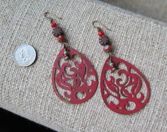 red-orange earrings, statement earrings, orange and brown earrings, huge earrings, filigree earrings, lightweight earrings, large earrings