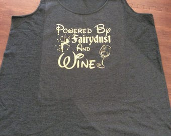 Tinkerbell, Disney Plus Size, Plus Size Disney, Disney Shirt Mom Tank, Powered by Fairy Dust and Wine, Epcot, Drinking Around the World