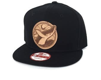 Humpback Whale Snapback Hat -  Black New Era Snapback Hat - Animal Hat - Baseball Hat - Festival Snapback - Leather Patch - Ocean Hat