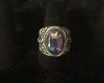 Zink Purple Turquoise Ring, 925 Sterling Silver