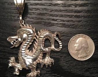925 Sterling Silver Dragon Pendant