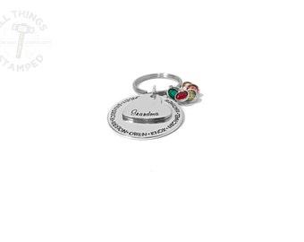 Personalized Gift for Grandma - Grandmother Keychain - Hand Stamped Nana - Custom Engraved - Grandma Est. - Birthday Gift - Grandchilds Name