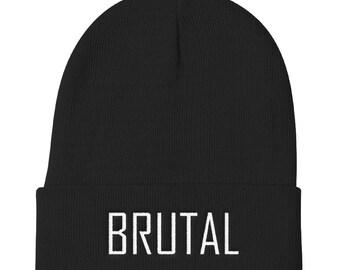 BRUTAL black beanie, Punk beanie, Goth beanie, Punk clothing