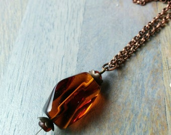 The Amber Prism Necklace - Amber Panes Collection - orange, antiqued, copper, faceted, crystal, prism, long, medium, rectangle, rectangular