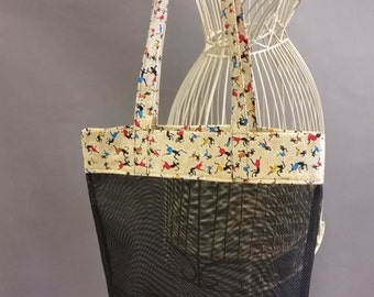 Mesh Tote. African Print Bag with Long Shoulder Straps. Project, Market or Beach Bag. From MDS Creative.