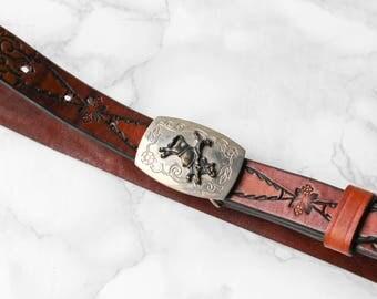 90s Vintage Western Belt • Leather Hip Belt • Brown Leather Belt • Bull Rider Metal Buckle • Womens Thin Belt • Cowgirl Belt • Rustic Belt.M