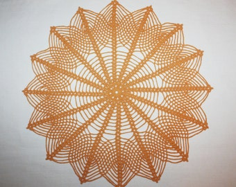 Peach Crochet Doily, Lace Doily, Pineapple Doilies, Cotton Doily, Crochet Centerpiece, Table Topper, 14 inches doilies