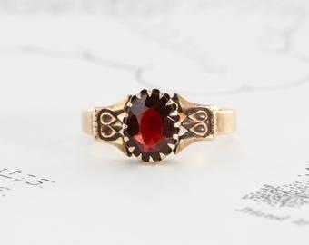 Victorian Garnet Ring, Antique 10k Yellow Gold Garnet Solitaire Alternative Bohemian Engagement Ring, January Birthstone Jewelry
