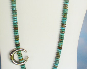 Hand-knotted Turquoise Necklace with Sterling Silver focal