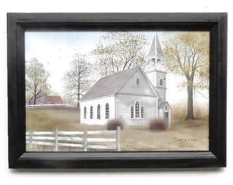 Church Picture, Sunday go to Meeting, Billy Jacobs, Art Print, Home Decor, Wall Hanging, Handmade, 15X21, Real Wood Frame, Made in the USA .