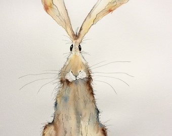 Tabitha - Large Original Watercolour and Ink hare painting