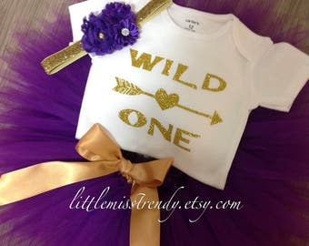 Girls WILD ONE Birthday Tutu Set, Purple Gold Wild One Birthday Set, Purple and Gold Wild One Birthday Tutu Shirt Outfit with Headband