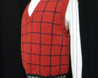 Vintage Red Wool Sweater Vest- (Size: Women's Large/Medium?) Red Vest, Windowpane Knit, 100% Wool, Made in Hong Kong, Great Condition,