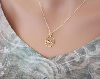 Gold Wave Charm Necklace, Gold Openwork Wave Charm Necklace, Gold Ocean Wave Pendant Necklace, Gold Ocean Wave Necklace, Gold Wave Necklace