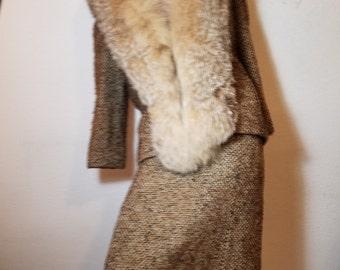 FREE  SHIPPING   1950  Wool Fur Suit
