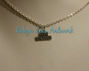 Small Silver Code Warrior Word Charm Necklace on Silver Crossed Chain or Black Faux Suede Cord. Gift, IT, Tech, Cute, Coding, Programmer