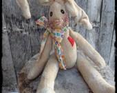 Primitive Bunny Rabbit Folk Art, Handcrafted Easter Spring Decoration, OFG FAAP
