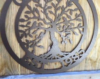 Last Name Established Sign Tree of life- Powder Coated finish, Family Last Name Monogram Sign, Family Sign,Wedding gift, TOLEST241