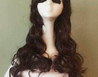 Long Dark Brown Wig / Wavy Hair / Thick Bang Wig / Long Brown Handmade Cosplay Wig