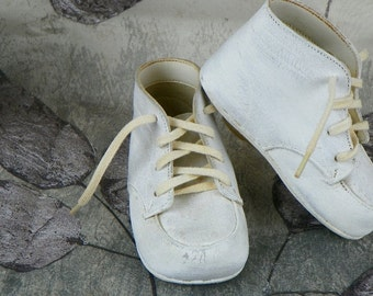 Vintage Baby Shoes Soft Sole White Leather