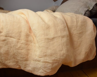 100% linen duvet cover. MIDSUMMER bedding collection. Cream-peach color. Single, twin, double, queen, king or custom sizes. Stone washed.