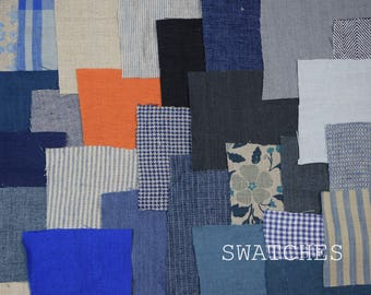 Swatches of LINENGRAPHY fabrics and sewn items. Pick your own set of samples !