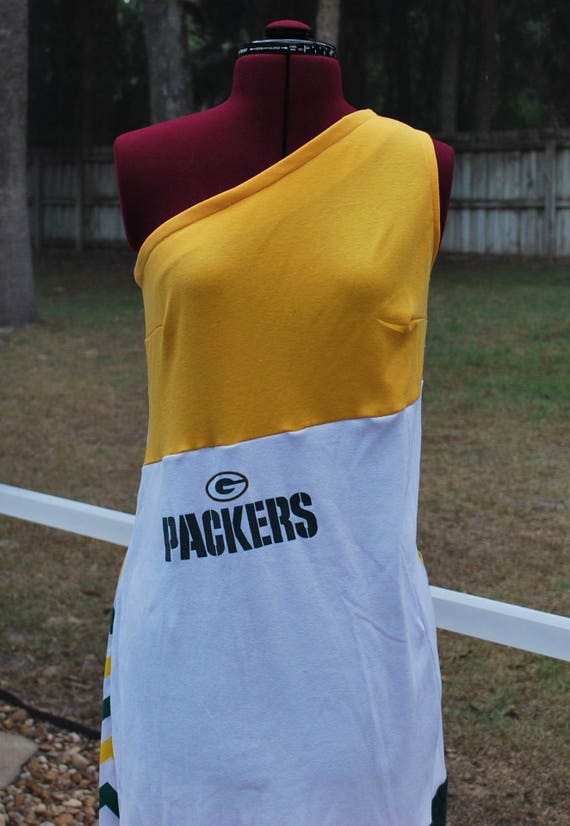 Green bay packers game dayone shoulder dress upcycled t shirts for Green bay packers wedding dress