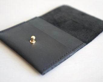 The Lima - Minimalist Card and Cash Wallet in Charcoal Black Leather