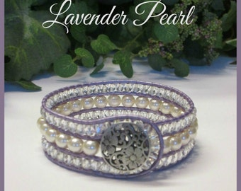 LAVENDER PEARL 3 Row Leather Wrap Cuff Bracelet, Antique White Glass Pearls, Boho Vintage Victorian Style Handmade Jewelry, Ravengirl Design