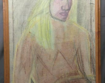 Old Vintage Expressionist Oil Painting Drawing Expressionism Art Portrait Woman