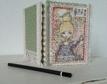 Altered Notebook Shabby Chic with Original Girl and Birds Painting