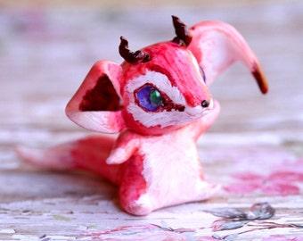 Fennec Fox Figurine, Dragon Figure, Polymer Clay Figure, Kawaii Sculpture, Kawaii Fox Figure, Animal Figurine, Dragon Art, Fox Lover Gift