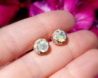 Opal and Diamond Studs 14kt ~ VIDEO Ethiopian Opal and Diamond Studs set in 14kt Yellow Gold