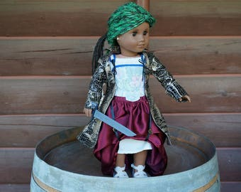 """Pirate outfit """"Ah Cap'n"""" dress corset jacket skirt sword for American Girl 18"""" doll"""