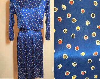 Anne Klein Size 8 Dress Separates Royal Blue Abstract Flowers Vintage 1980s Working Woman Red Yellow Pink Black Grey White Floral Multicolor