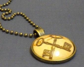 Skeleton Keys Pendant Necklace, Steampunk Glass Round Pendant, Steam punk Crossed Keys Glass Cameo on Ball Chain, 2003