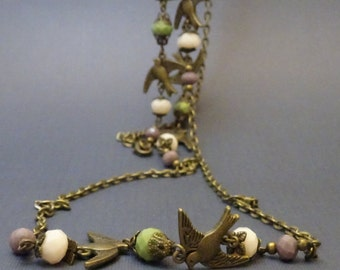 Long Wrap Necklace, Vintage Style, Swallows & Crystals, 48 Inches Long, Antique Bronze, Victorian Filigree 2008
