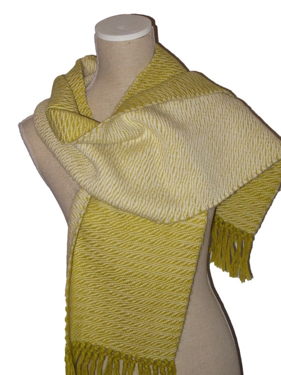 Scarf, 100% Alpaca Wool, Handwoven, colours off white & dark lime