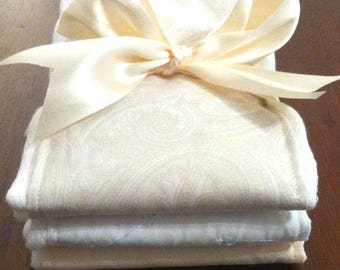 Linen and Lace Baby Burp Cloths - Baby Shower Gift