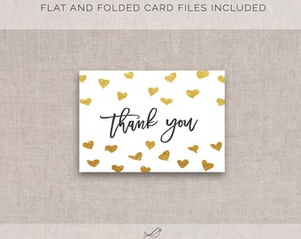 Instant Download Gold Hearts Thank You Cards, Fold and flat