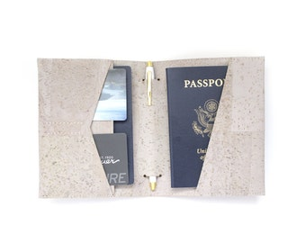 Passport Cover, Passport Wallet with Pen Holder in Grey Cork Fabric - Gifts for Travelers, Travel Wallet