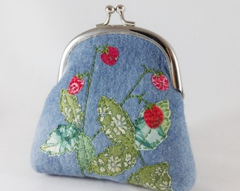 Coin purse, blue felt purse, embroidered purse, small clutch purse, handmade purse, gifts for her, birthday gift, Mother's Day gift