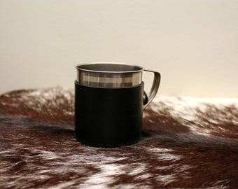 Tankard with Black Leather Cover