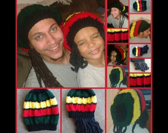 Matching Adult and Child's JAMAICAN RASTA BEANIES Crochet Patterns