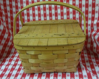 Vintage 13'' Square Picnic BASKET with Hinged Lid