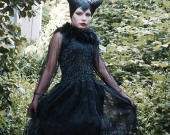 Deluxe Halloween Maleficent Dress and  Black Horns ~ Headdress   ~ Costume ~ CosPlay ~ Steampunk  ~  Gothic ~ Day of the dead